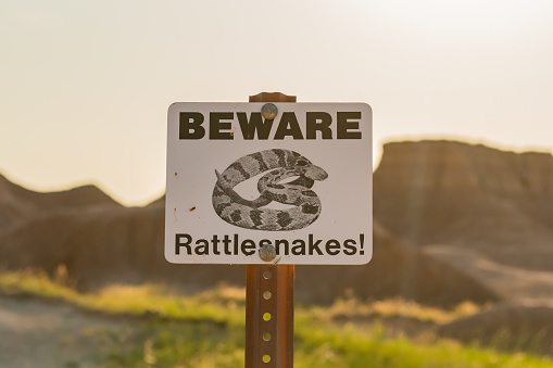 Beware Rattlesnakes Sign does not encourage hikers to explore off trail